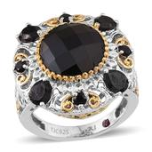 Royal Jaipur Collection Thai Black Spinel (Rnd), Ruby Ring in 14K YG and Platinum Overlay Sterling Silver Nickel Free (Size 8) TGW 10.35Cts.