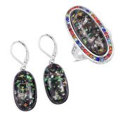 Lab Created Black Opal, Multi Color Austrian Crystal Stainless Steel Halo Ring (Size 6) and Lever Back Earrings TGW 23.00 cts.