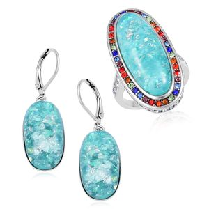 TLV Lab Created Green Opal, Multi Color Austrian Crystal Stainless Steel Halo Ring (Size 7) and Lever Back Earrings TGW 23.00 cts.
