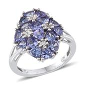 Tanzanite, White Topaz Platinum Over Sterling Silver Ring (Size 9.0) TGW 4.330 cts.