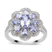Tanzanite, White Topaz Sterling Silver Ring (Size 6.0) TGW 2.25 cts.