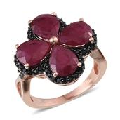 Niassa Ruby, Thai Black Spinel 14K RG Over Sterling Silver Clover Ring (Size 7.0) TGW 8.950 cts.