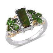 Canadian Ammolite, Russian Diopside, White Topaz 14K YG and Platinum Over Sterling Silver Ring (Size 8.0) TGW 3.57 cts.