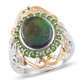 Canadian Ammolite, Russian Diopside 14K YG Over and Sterling Silver Openwork Ring (Size 7.0) TGW 3.85 cts.