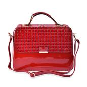 J Francis - Red Faux Leather Handbag (13x5x10 in)
