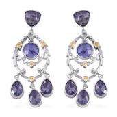 Royal Jaipur Tanzanite, Ruby 14K YG and Platinum Over Sterling Silver Dangle Earrings TGW 8.34 Cts.