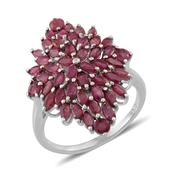 Niassa Ruby Platinum Over Sterling Silver Incredible Cluster Ring (Size 10.0) TGW 4.600 cts.