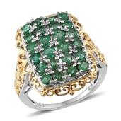 Kagem Zambian Emerald 14K YG and Platinum Over Sterling Silver Ring (Size 8.0) TGW 2.910 cts.