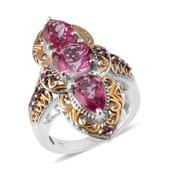 Pure Pink Mystic Topaz, Orissa Rhodolite Garnet 14K YG and Platinum Over Sterling Silver Ring (Size 8.0) TGW 8.450 cts.