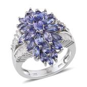 Tanzanite, White Topaz Platinum Over Sterling Silver Ring (Size 5.0) TGW 6.940 cts.