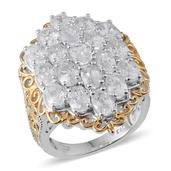 White Zircon 14K YG and Platinum Over Sterling Silver Ring (Size 10.0) TGW 14.000 cts.