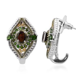 Canadian Ammolite, Russian Diopside, Green Diamond 14K YG and Platinum Over Sterling Silver J-Hoop Earrings TDiaWt 0.030Cts., TGW 3.78 Cts.