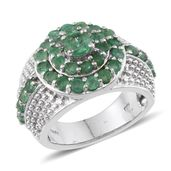 Kagem Zambian Emerald Platinum Over Sterling Silver Ring (Size 5.0) TGW 2.85 cts.