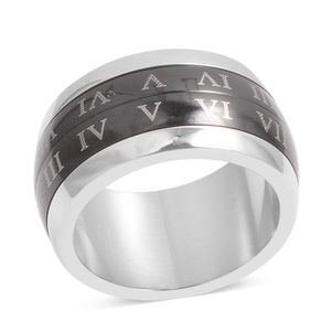 ION Plated Black and Stainless Steel Spinner Roman Numeral Band Ring (Size 6.5)