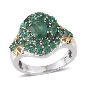 Kagem Zambian Emerald 14K YG and Platinum Over Sterling Silver Ring (Size 8.0) TGW 3.32 cts.