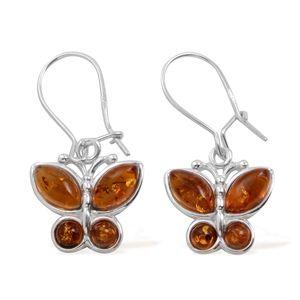 Baltic Amber Sterling Silver Butterfly Earrings