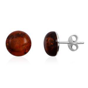 Baltic Cognac Amber Sterling Silver Stud Earrings