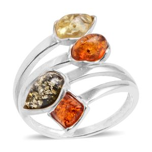 Baltic Multi Color Amber Sterling Silver Elongated Ring (Size 8.0)