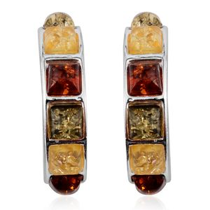 TLV Baltic Multi Color Amber (Sqr) Earrings in Sterling Silver Nickel Free Total Gem Stone Weight 7.33 Carat