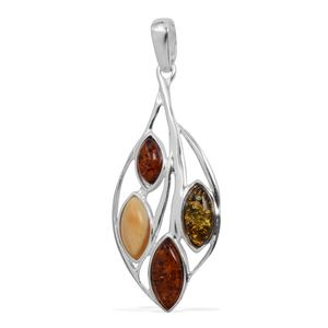 Baltic Multi Color Amber Sterling Silver Pendant without Chain