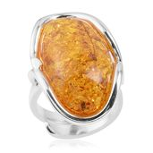 Yellow Amber Sterling Silver Ring (Size 7.0)