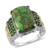 Mojave Green Turquoise, Russian Diopside 14K YG and Platinum Over Sterling Silver Ring (Size 6.0) TGW 15.780 cts.