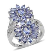 Tanzanite, Diamond Platinum Over Sterling Silver Floral Ring (Size 9.0) TDiaWt 0.02 cts, TGW 5.000 cts.