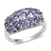 Tanzanite Platinum Over Sterling Silver Ring (Size 9.0) TGW 3.428 cts.
