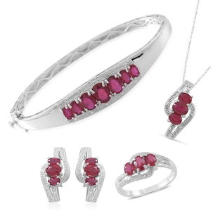 Niassa Ruby Sterling Silver Trilogy Crossover Ring (Size 7), Earrings, Pendant With Stainless Steel Chain (20 in) and 7 Stone Line Bangle (7.5 in) TGW 12.44 cts.