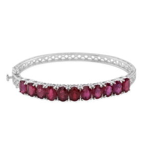 Niassa Ruby Sterling Silver Bangle (7.5 in) TGW 18.04 Cts.
