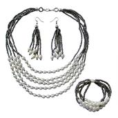 Multi Strand Simulated Pearl, Gray Seed Bead Stainless Steel Necklace (18 in), Earrings and Bracelet (Stretchable)
