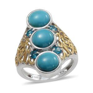 Arizona Sleeping Beauty Turquoise, Malgache Neon Apatite 14K YG and Platinum Over Sterling Silver Elongated Ring (Size 6.0) TGW 5.250 cts.