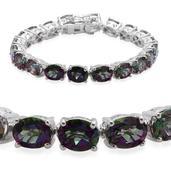 Northern Lights Mystic Topaz (Ovl) Bracelet in Platinum Overlay Sterling Silver Nickel Free (7.5 in) TGW 42.25 Cts.