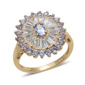 Tanzanite, White Topaz 14K YG Over Sterling Silver Ring (Size 9.0) TGW 3.350 cts.