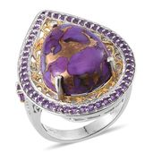 Mojave Purple Turquoise, Amethyst, White Topaz 14K YG and Platinum Over Sterling Silver Ring (Size 6.0) TGW 16.900 cts.
