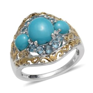 Arizona Sleeping Beauty Turquoise, Electric Blue Topaz 14K YG and Platinum Over Sterling Silver Ring (Size 8.0) TGW 3.360 cts.