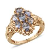 Bondi Blue Tanzanite 14K YG Over Sterling Silver Engraved Cluster Ring (Size 7.0) TGW 2.750 cts.
