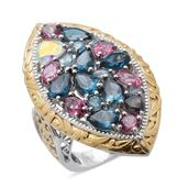 Multi Topaz 14K YG and Platinum Over Sterling Silver Ring (Size 5.0) TGW 11.30 cts.