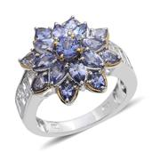 Tanzanite, White Topaz 14K YG and Platinum Over Sterling Silver Flower Ring (Size 7.0) TGW 5.900 cts.