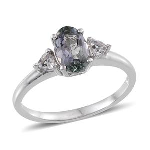 Bondi Blue Tanzanite, White Topaz Platinum Over Sterling Silver Ring (Size 7.0) TGW 1.610 cts.