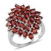 Sunset Red Sapphire Platinum Over Sterling Silver Ring (Size 8.0) TGW 5.800 cts.