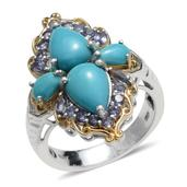 Arizona Sleeping Beauty Turquoise, Catalina Iolite 14K YG and Platinum Over Sterling Silver Ring (Size 8.0) TGW 4.825 cts.