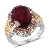 Blazing Red Quartz, Mahenge Rose Spinel 14K YG and Platinum Over Sterling Silver Ring (Size 6.0) TGW 10.900 cts.