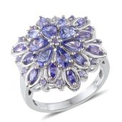 Tanzanite Platinum Over Sterling Silver Ring (Size 9.0) TGW 4.200 cts.