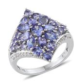 Tanzanite, White Topaz Platinum Over Sterling Silver Ring (Size 6.0) TGW 4.095 cts.