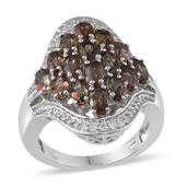 Jenipapo Andalusite, Simulated Diamond Platinum Over Sterling Silver Ring (Size 7.0) TGW 4.755 cts.