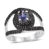 Bondi Blue Tanzanite, Thai Black Spinel Platinum Over Sterling Silver Bold Split Ring (Size 6.0) TGW 3.060 cts.