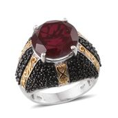 Blazing Red Quartz, Thai Black Spinel 14K YG and Platinum Over Sterling Silver Ring (Size 7.0) TGW 14.170 cts.