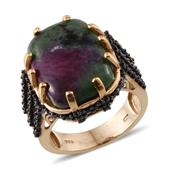 Ruby Zoisite, Thai Black Spinel 14K YG Over Sterling Silver Open Band Ring (Size 8.0) TGW 26.350 cts.