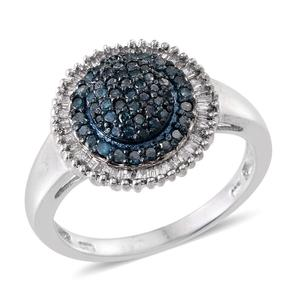 Blue Diamond (IR), Diamond Platinum Over Sterling Silver Ring (Size 9.0) TDiaWt 0.78 cts, TGW 0.775 cts.